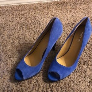 Blue suede high heels